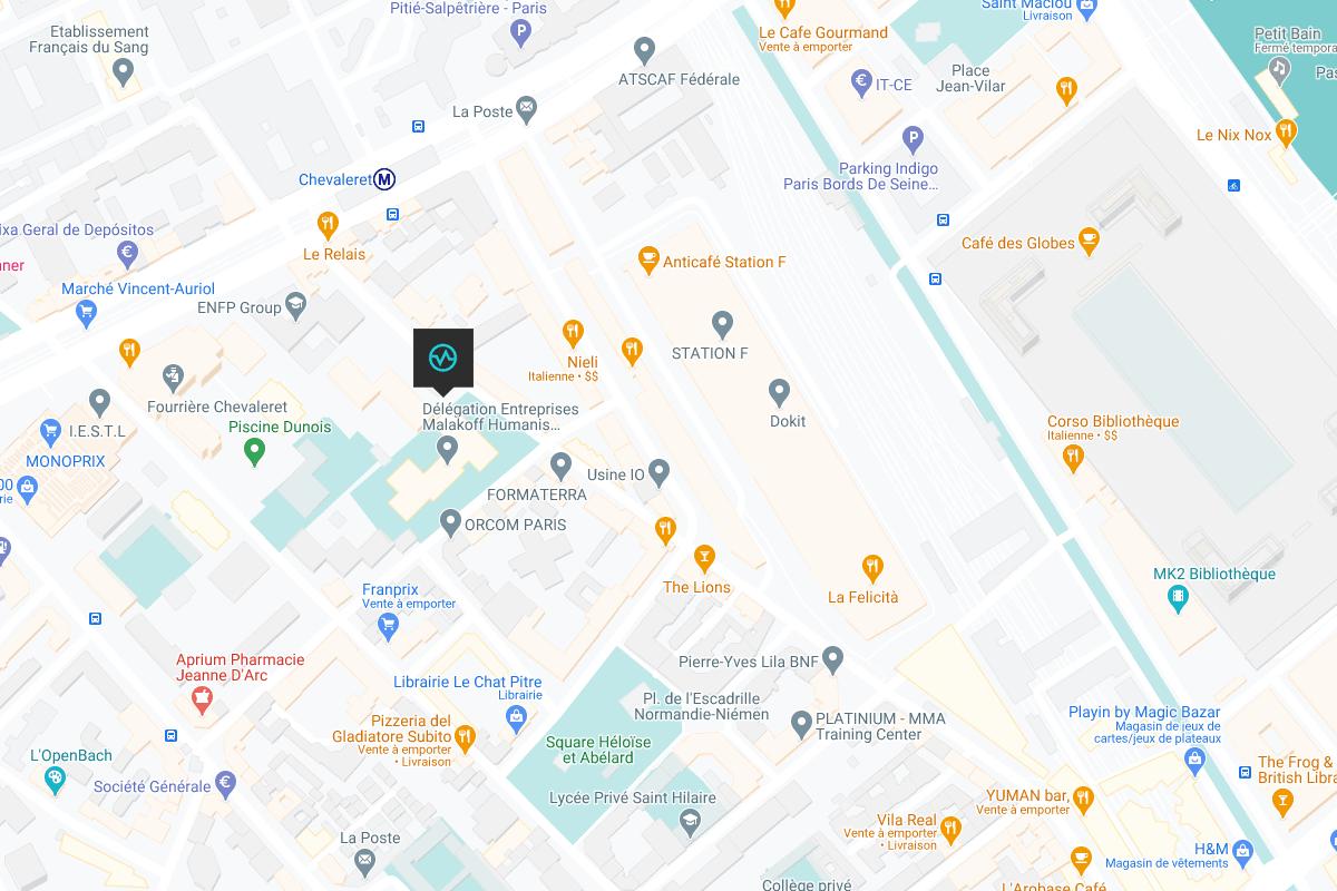 Carte emplacement de la salle de bloc paris chevaleret