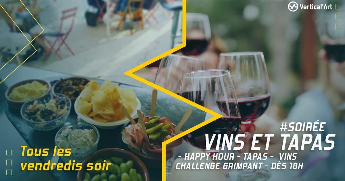 Soirée tapas tous les vendredis, à partir de 18h, à Vertical'Art Paris Chevaleret, rendez-vous hebdomadaire, vins et happy hour dans l'ambiance made in VA