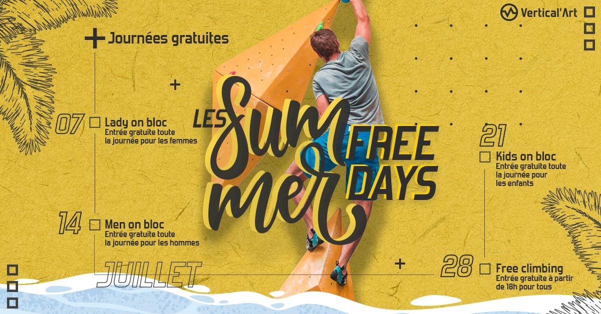 summer free day chez Vertical'Art Paris Pigalle - salle d'escalade restaurant et bar - journée gratuite