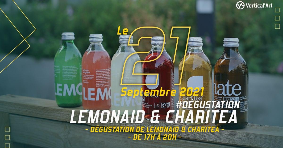Dégustation des boissons Lemonaid et ChariTea mardi 21 septembre à Vertical'Art Paris Chevaleret, rendez-vous de 17h à 20h dans votre salle d'escalade parisienne